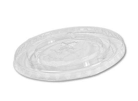 Clear Flat Lid with Straw Slot for 12-24oz PET Cups